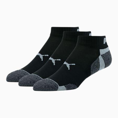 Men's Extended Heel/Toe Quarter Crew Socks [3 Pack], BLACK / GREY, small